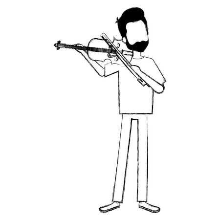 man playing fiddle character vector illustration design