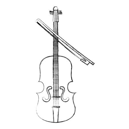 바이올린 악기 격리 아이콘 벡터 일러스트 레이 션 디자인.