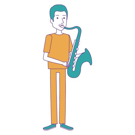 man playing saxophone character vector illustration design