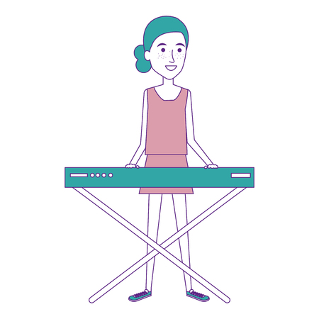 Woman playing synthesizer character vector illustration design.