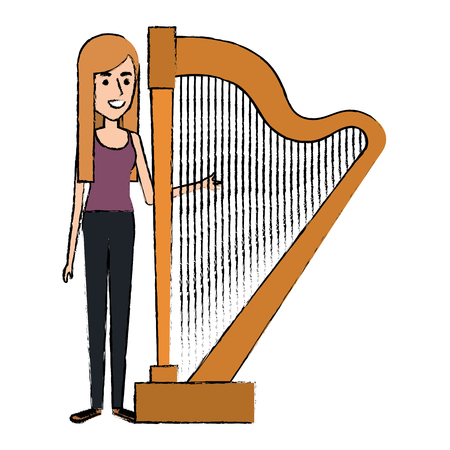 Woman playing harp character vector illustration design Çizim
