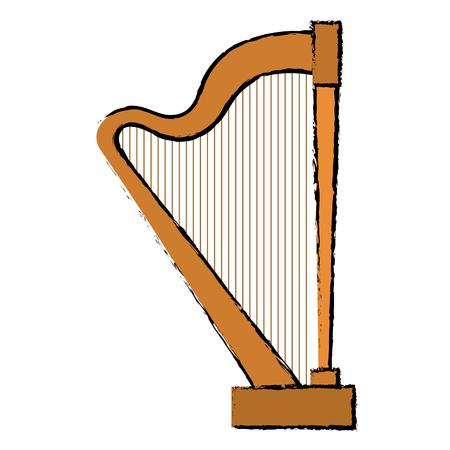arpa: diseño aislado del ejemplo del vector del icono del instrumento del arpa