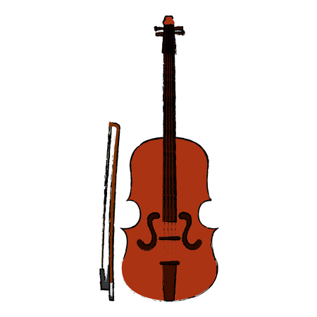 フィドル楽器孤立アイコンベクトルイラストデザイン