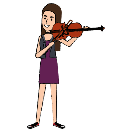 Woman playing fiddle character vector illustration design