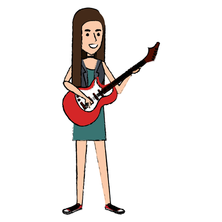 Woman playing guitar electric character vector illustration design