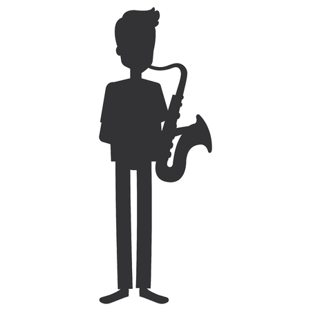 man playing saxophone character vector illustration design