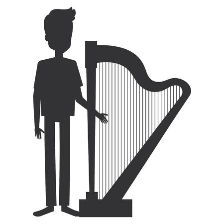 man playing harp character vector illustration design