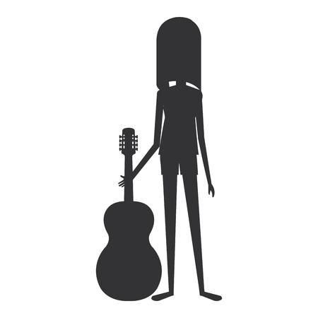 woman playing guitar character vector illustration design Çizim