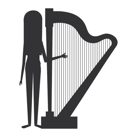woman playing harp character vector illustration design
