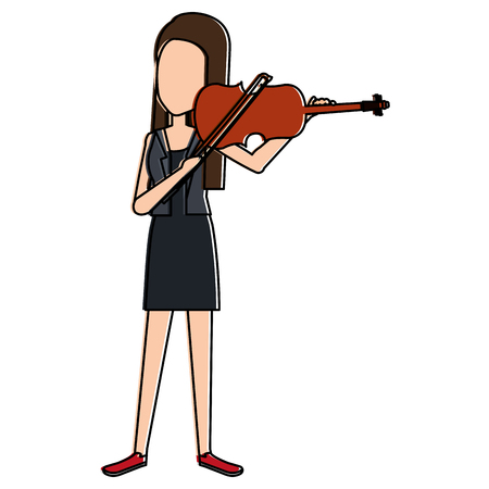 woman playing fiddle character vector illustration design Çizim