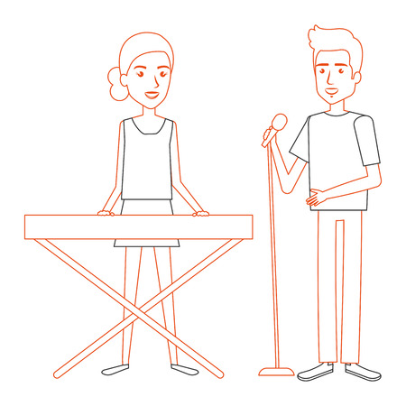 couple singing with microphone and playing synthesizer vector illustration design