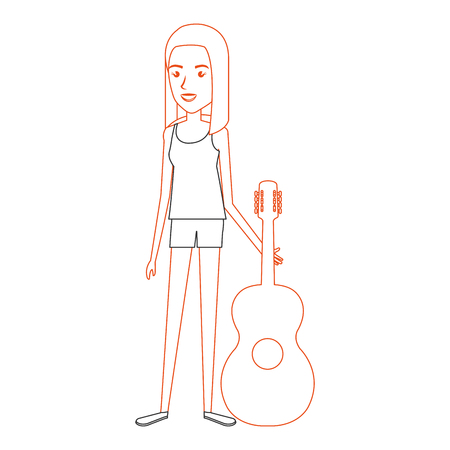 woman playing guitar character vector illustration design Çizim