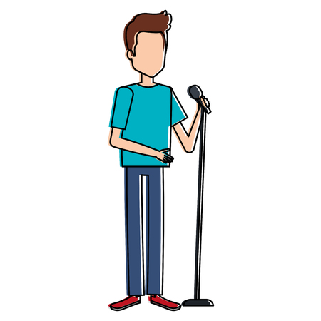 man singing with microphone vector illustration design
