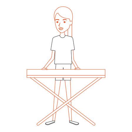 Donna, gioco, sintetizzatore, carattere, illustrazione, vettore, disegno Archivio Fotografico - 88936923