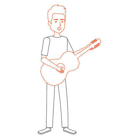 man playing guitar character vector illustration design Ilustração
