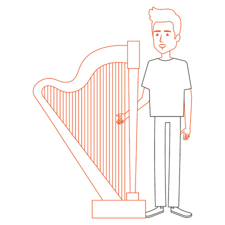 man playing harp character vector illustration design