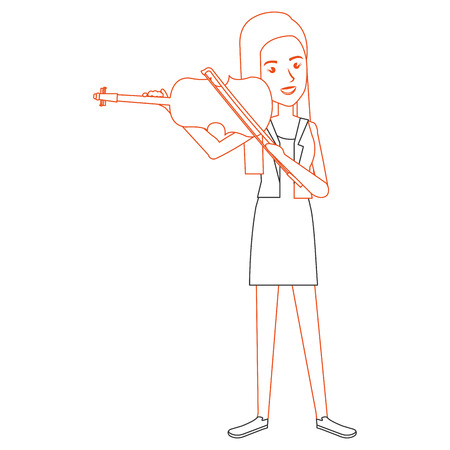 woman playing fiddle character vector illustration design Ilustrace