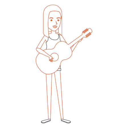 woman playing guitar character vector illustration design Stok Fotoğraf - 88936952