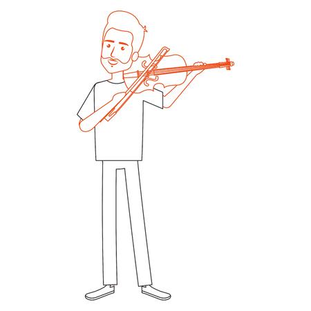 바이올린 캐릭터 벡터 일러스트 디자인을 연주하는 사람