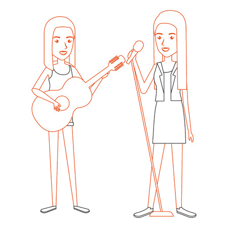 women singing and playing guitar vector illustration design