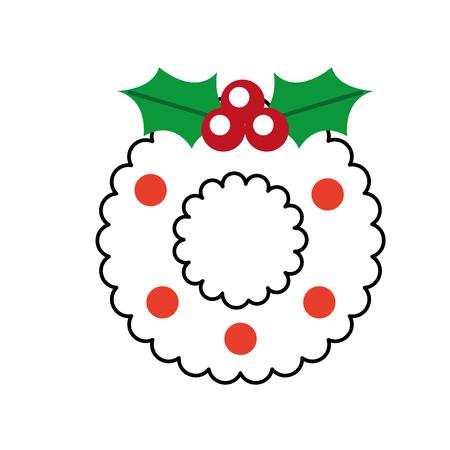 christmas wreath with holly berries ball festive design vector illustration Illustration