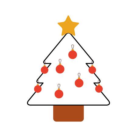 クリスマス ツリー松星球の装飾飾りデザイン ベクトル図