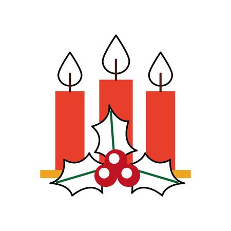 クリスマス キャンドル ホリー ベリー 3 種葉燃焼装飾ベクトル図