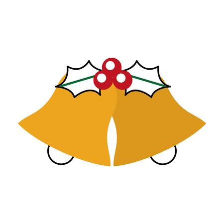 christmas bells holly berry celebration decoration vector illustration Illustration