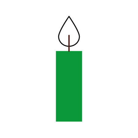 christmas green candle burning celebration decoration vector illustration