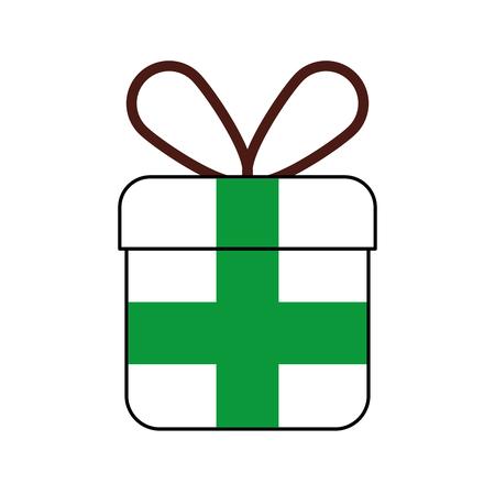 Kerst geschenk vak verpakt lint viering vector illustratie Stock Illustratie