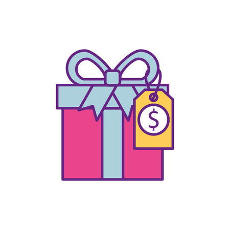 shopping big gift box discount offer online vector illustration Stock Vector - 88960715