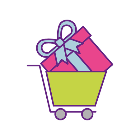 onilne shopping basket gift box commerce vector illustration