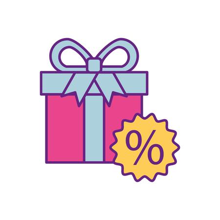 gift box tag korting speciale aanbieding procent uit teken symbool vectorillustratie
