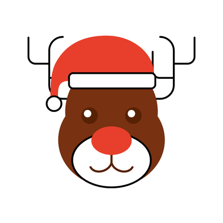 christmas reindeer with hat animal horned funny vector illustration