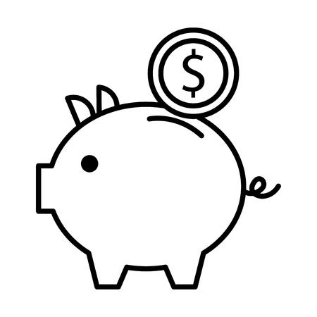 貯金箱のお金コイン貯蓄と投資の概念ベクトル図