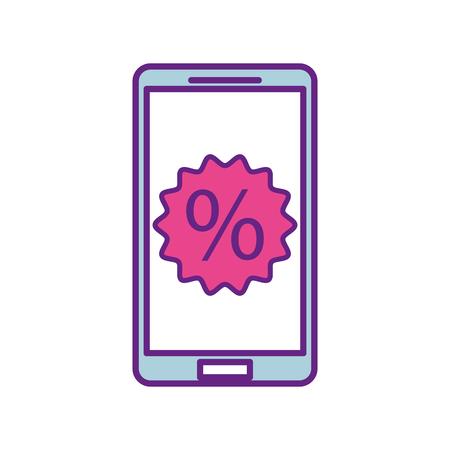 パーセントの割引販売と携帯電話を提供するマーケティングのベクトル図