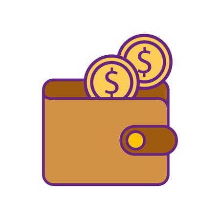 online ecommerce portemonnee met dollar munten geld vectorillustratie