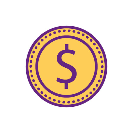 dollar money coin currency economy commerce vector illustration