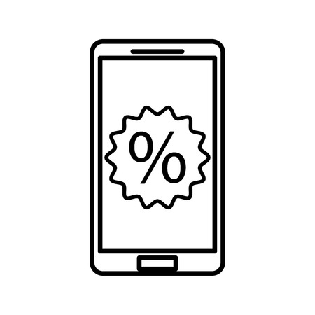 mobile phone with discount percent sale offer marketing vector illustration