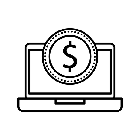 laptop with a dollar coin money ecommerce technology vector illustration Ilustrace