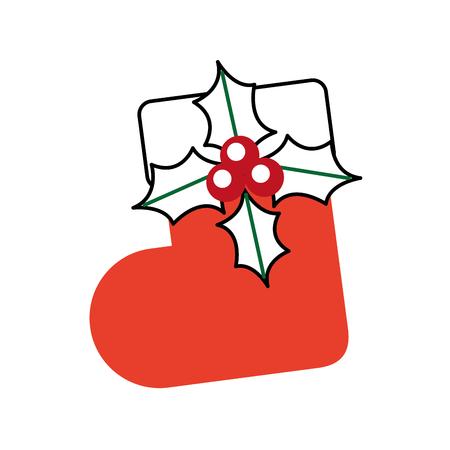 Kerst Sok bloem verrassing decoratie sierlijke vectorillustratie