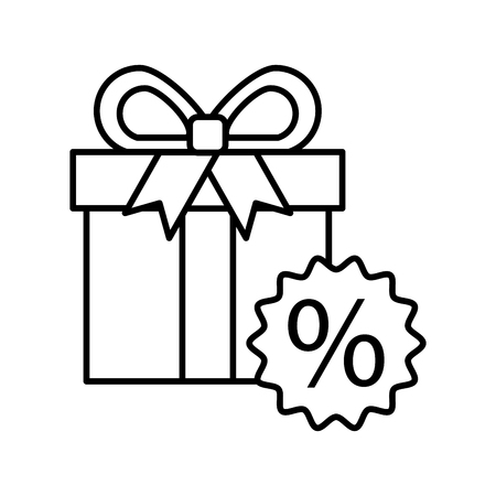 Gift box tag discount special offer percent offer vector illustration