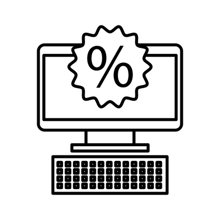 Computer business commerce online percent discount concept vector illustration Illustration