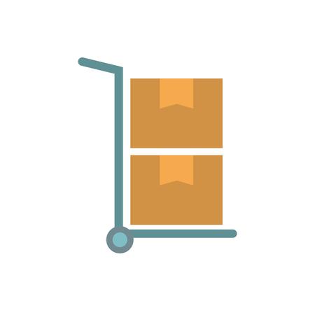 Hand cart delivery cardboard boxes storage vector illustration Illustration