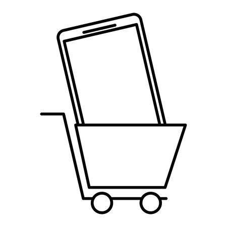 Shopping cart with phone an online order commerce concept illustration Illustration