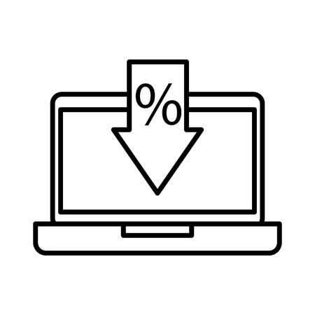 Computer with arrow offer discount concept illustration