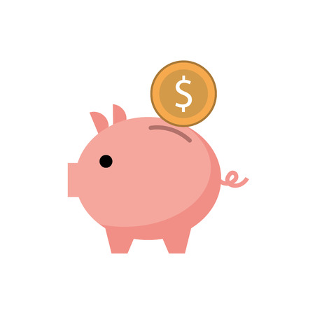 piggy bank money coin saving and investing concept vector illustration Reklamní fotografie - 88975116