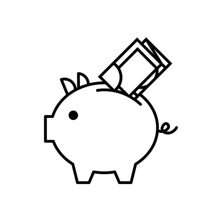 bank piggy met bankbiljet geld geld vectorillustratie