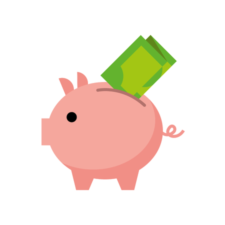 bank piggy with banknote money cash vector illustration Stok Fotoğraf - 88975692