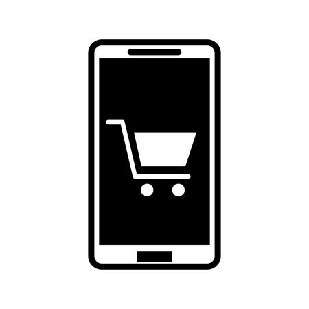 mobiele telefoon winkelwagentje elektronische handel digitale vectorillustratie